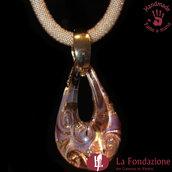 Goccia Maxi Vortice Pervinca - Pendente in vetro di Murano fatto a mano