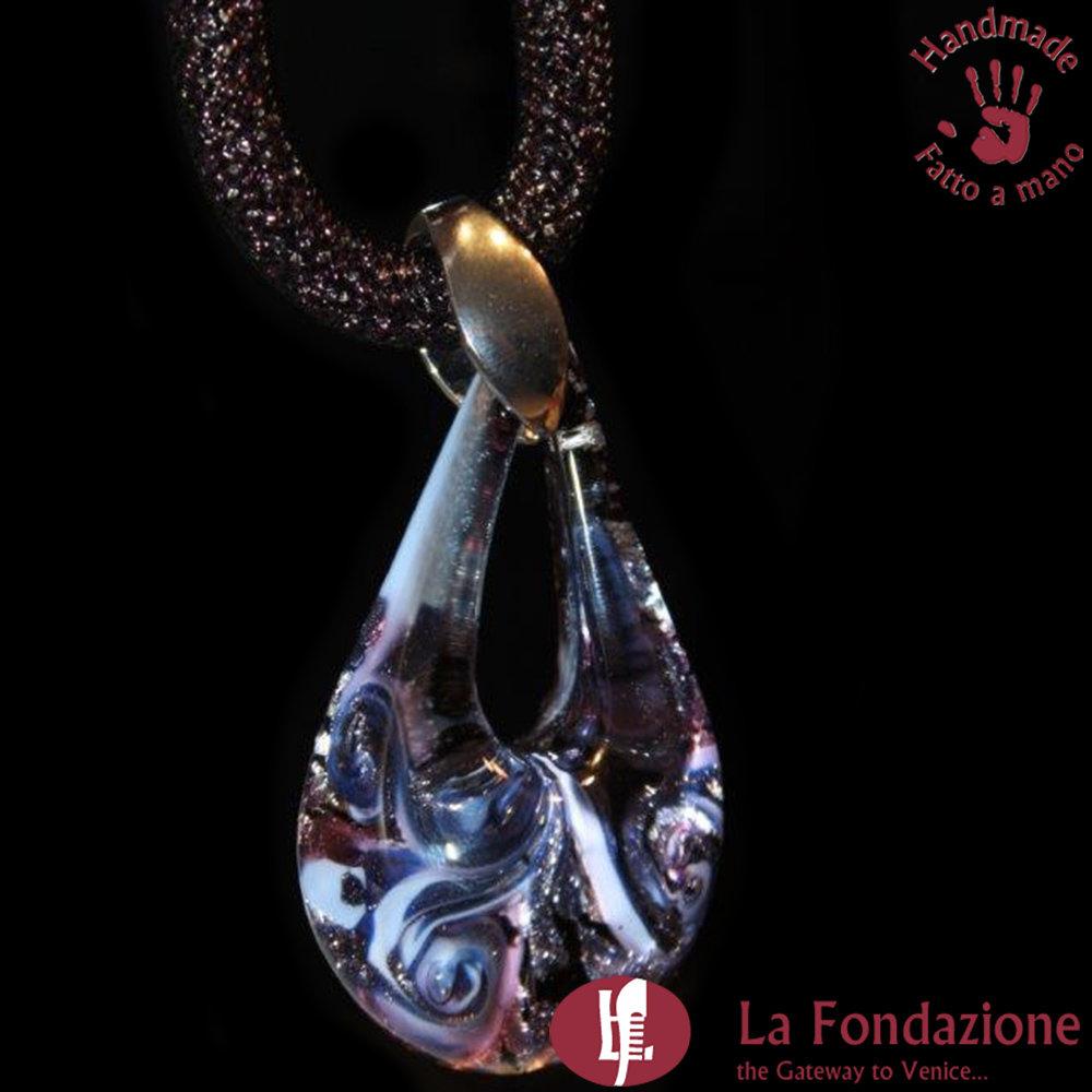 Goccia Maxi Vortice Blu - Pendente in vetro di Murano fatto a mano