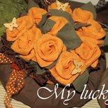 Cachepot rose in tessuto giallo/arancio