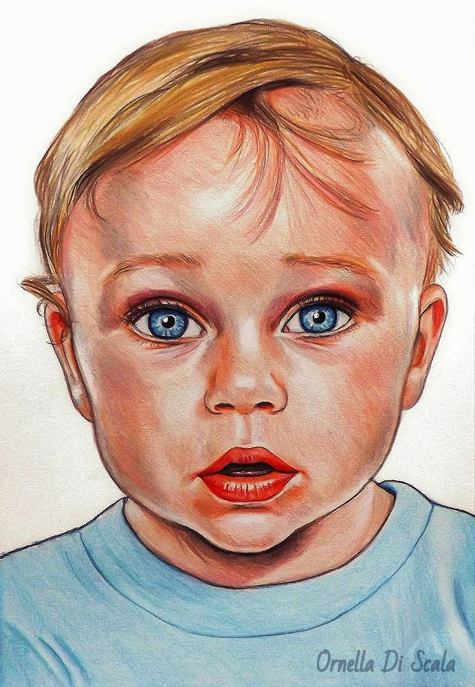 Ritratto da foto bambini  pastelli su cartoncino su commissione