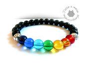 Bracciale da UOMO Chakra energia del corpo elastico perle stone in vetro e Agata e metallo