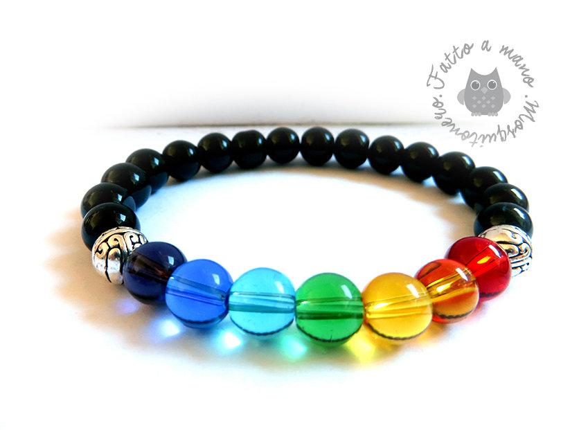 Bracciale da UOMO Chakra energia del corpo elastico perle in vetro e metallo