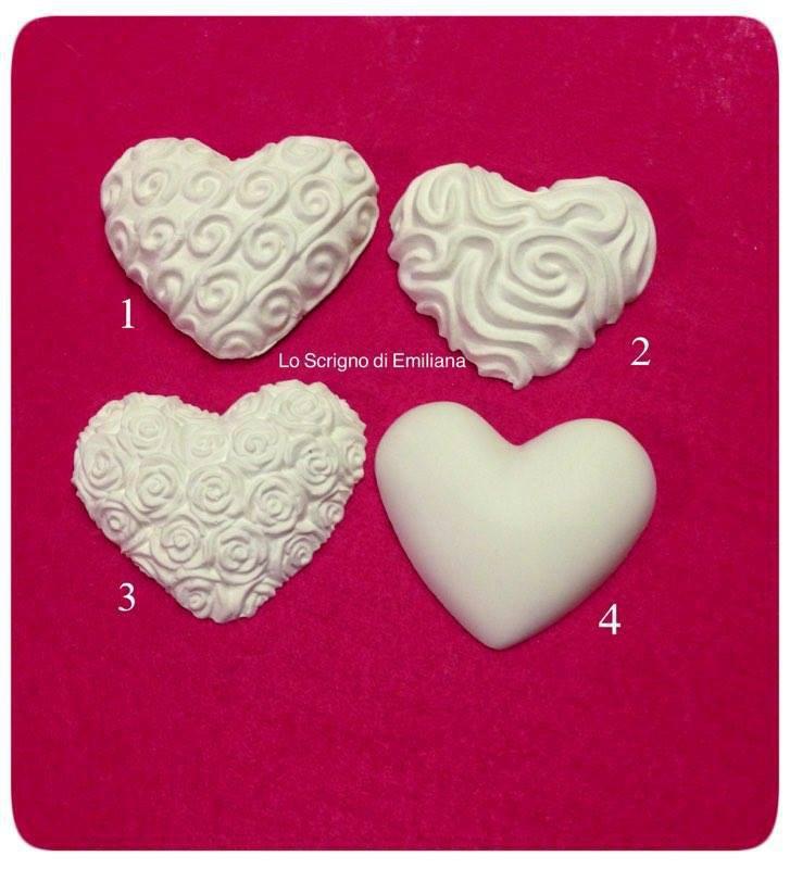 Gessetto profumato cuore decorato per realizzare bomboniere/segnaposto