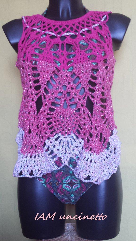 Gilet A Tinte Rosa Lavorato Alluncinetto Donna Abbigliamento
