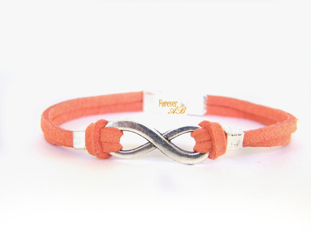 Bracciale infinito arancio donna  uomo amore regalo infinity pelle