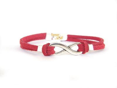 Bracciale infinito rosso donna  uomo amore regalo infinity pelle