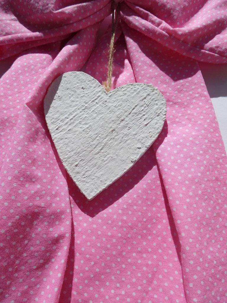 fiocco nascita rosa con cuore a pois
