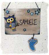 Originale fiocco nascita : Cartello nascita in legno per bimbo