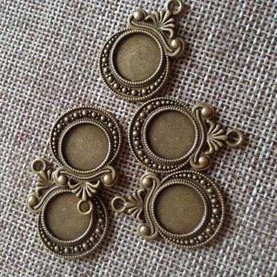 ciondolo base cabochon 12 mm color bronzo