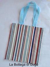 Shopper richiudibile a righe rosse blu bianche/azzurro pois bianchi con borsina