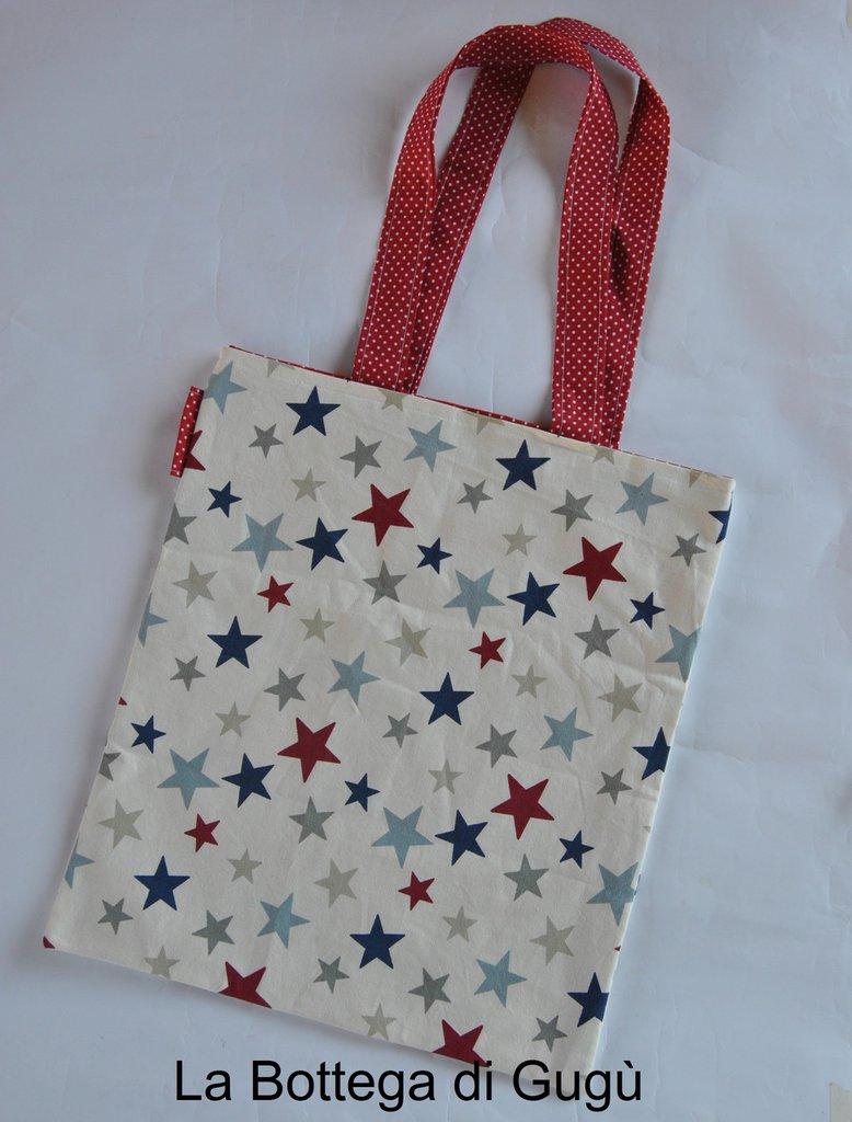 Shopper richiudibile fantasia a stelle rosse blu azzurre/rosso pois bianchi con borsina