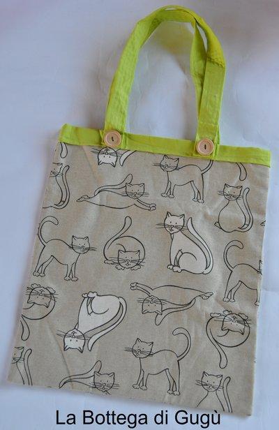 Shopper richiudibile fantasia gatti/verde acido con borsina