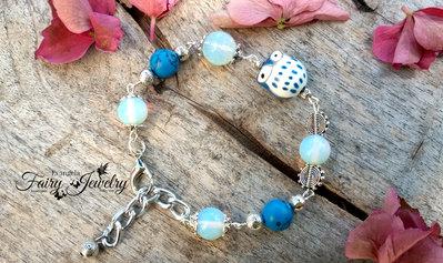 Bracciale gufetto ceramica dipinto a mano opali turchese blu