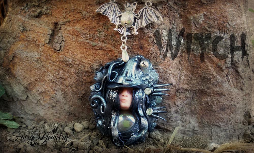 Collana strega fimo pasta polimerica pippistrello gothic dark oscuro