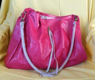 Maxi borsa in vera pelle color ciclamino