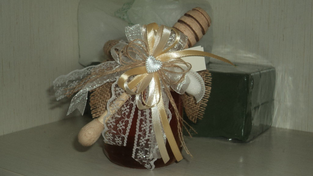confezione x vasetti miele uso bomboniera segnaposto con juta e pizzo shabby chic