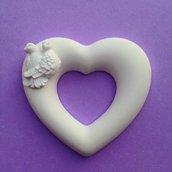 Cuore con colombine matrimonio in polvere ceramica