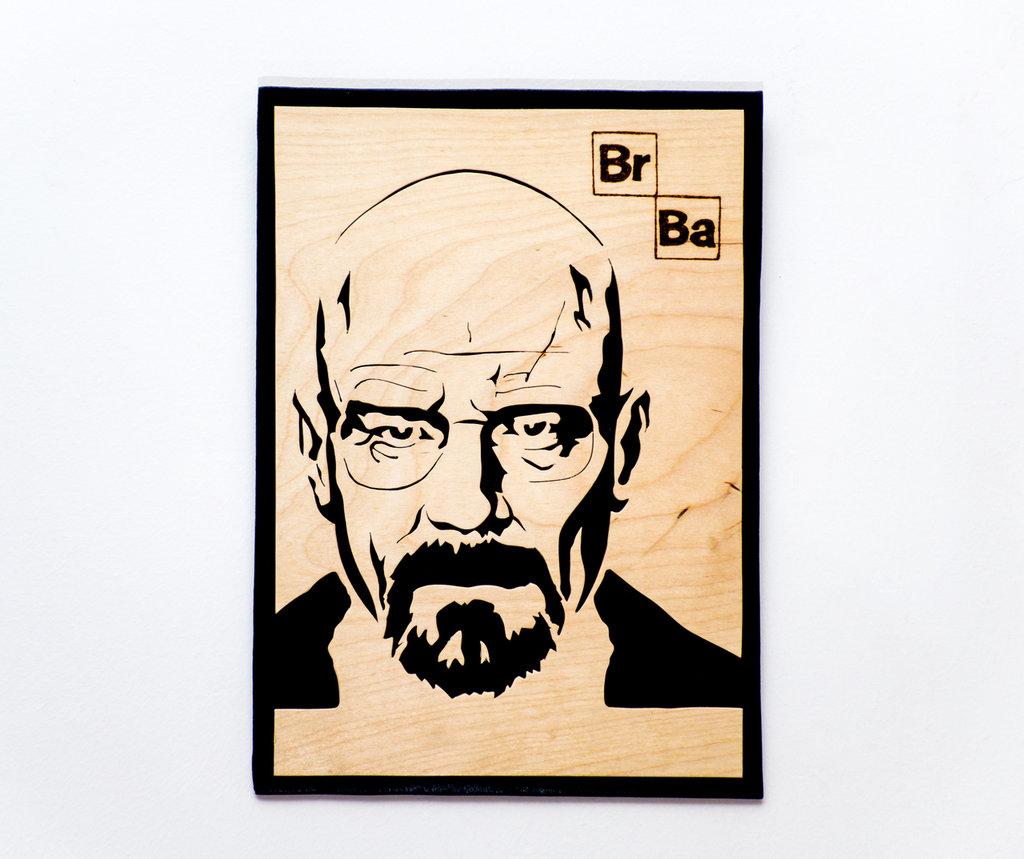 """Quadro in legno Breaking bad, fatto a mano con sfondo Nero e immagine Betulla naturale, raffigurante Walter White """"Heisenberg"""" il personaggio protagonista."""