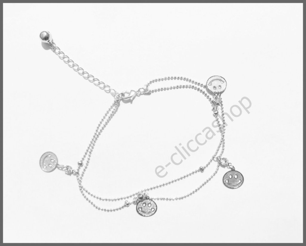 """Cavigliera bracciale """"smaile"""" colore argento"""