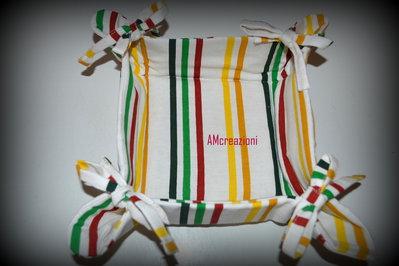 Cestino portapane/portatutto in stoffa fatto a mano