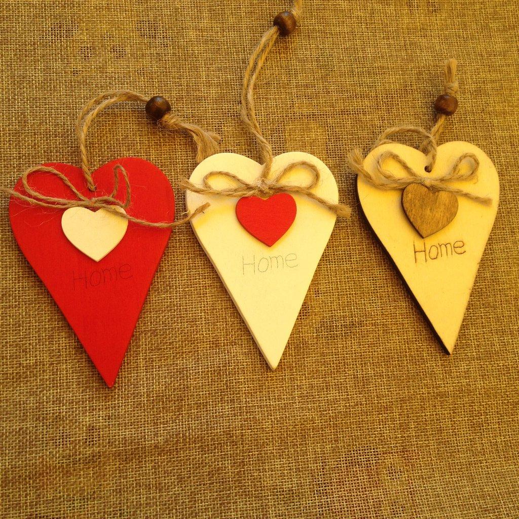 cuore in legno per decorazioni in stile shabby chic
