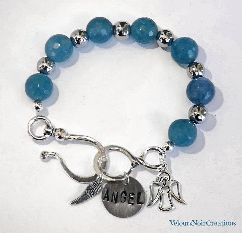 Bracciale angelo pietre dure agata azzurra
