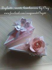 Bomboniera Fetta di torta,  con i confetti e targhetta personalizzata .
