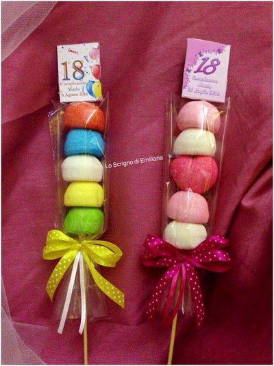 Bomboniera spiedino marshmallow Compleanno