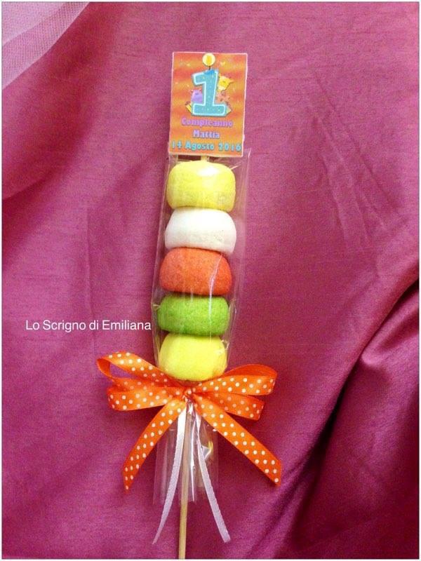 Bomboniera spiedino marshmallow Compleanno bambini