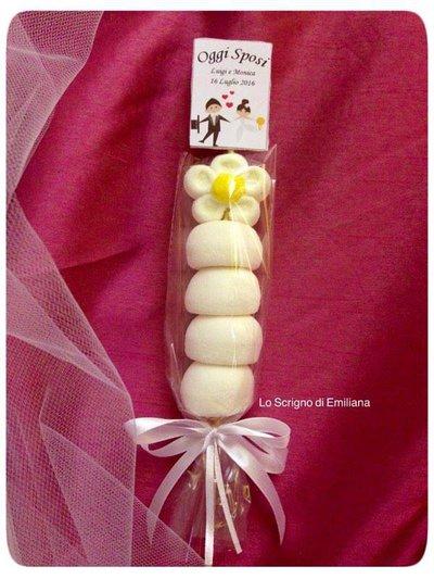 Bomboniera spiedino marshmallow Matrimonio