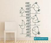 Metro da parete Uccellini - misurare altezza bambini - metrino crescita - wall stickers