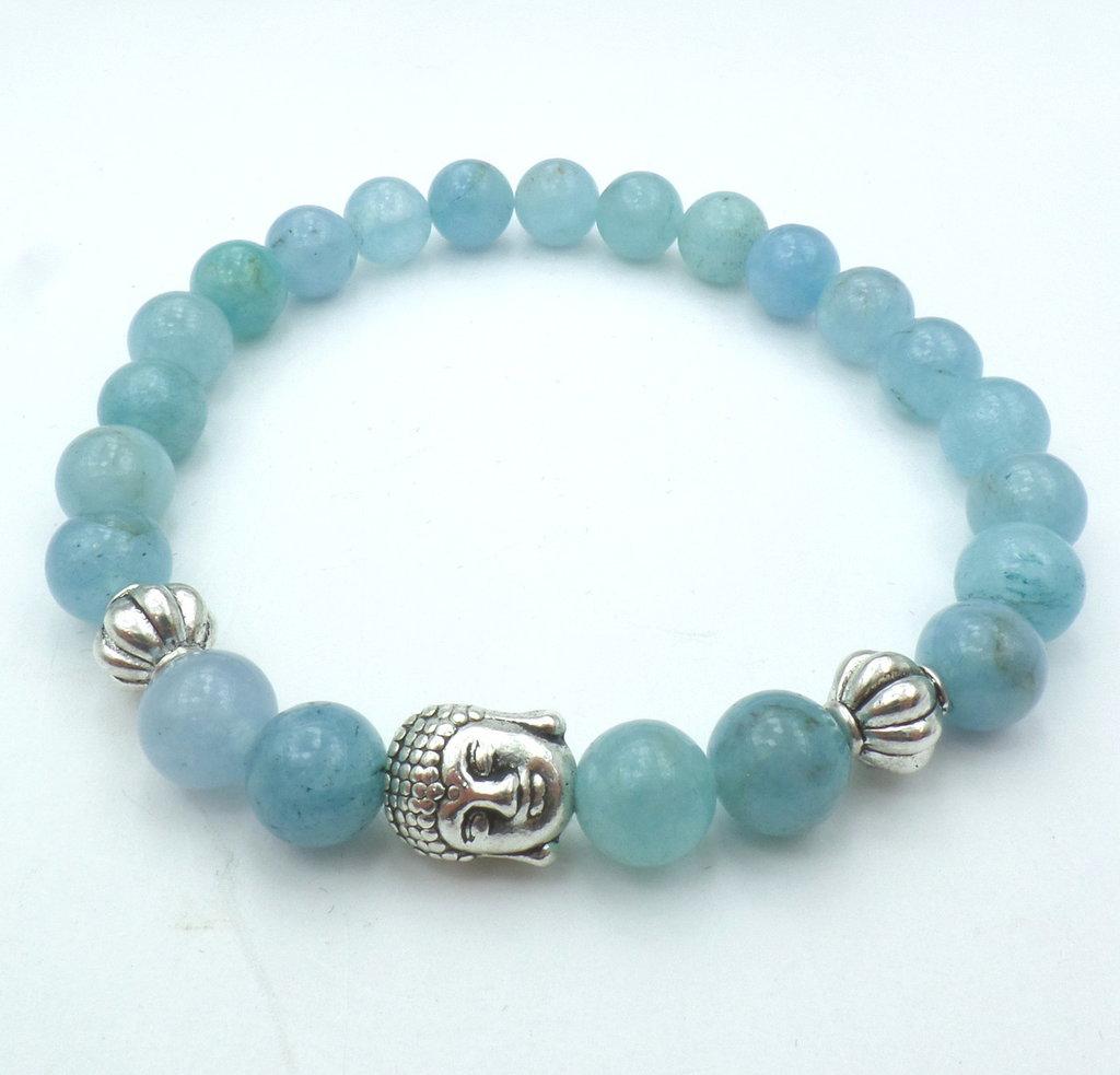 Bracciale con pietre dure naturali Agata azzurra e charm centrale Buddha