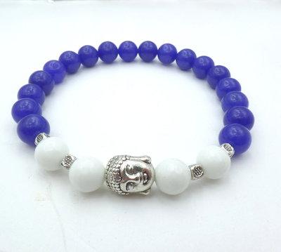 Bracciale con pietre dure naturali Agata Blu e Bianca con charm Buddha