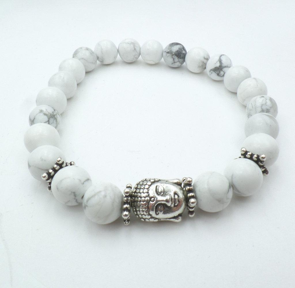 Bracciale con pietre dure naturali Aulite bianca e charm centrale Buddha