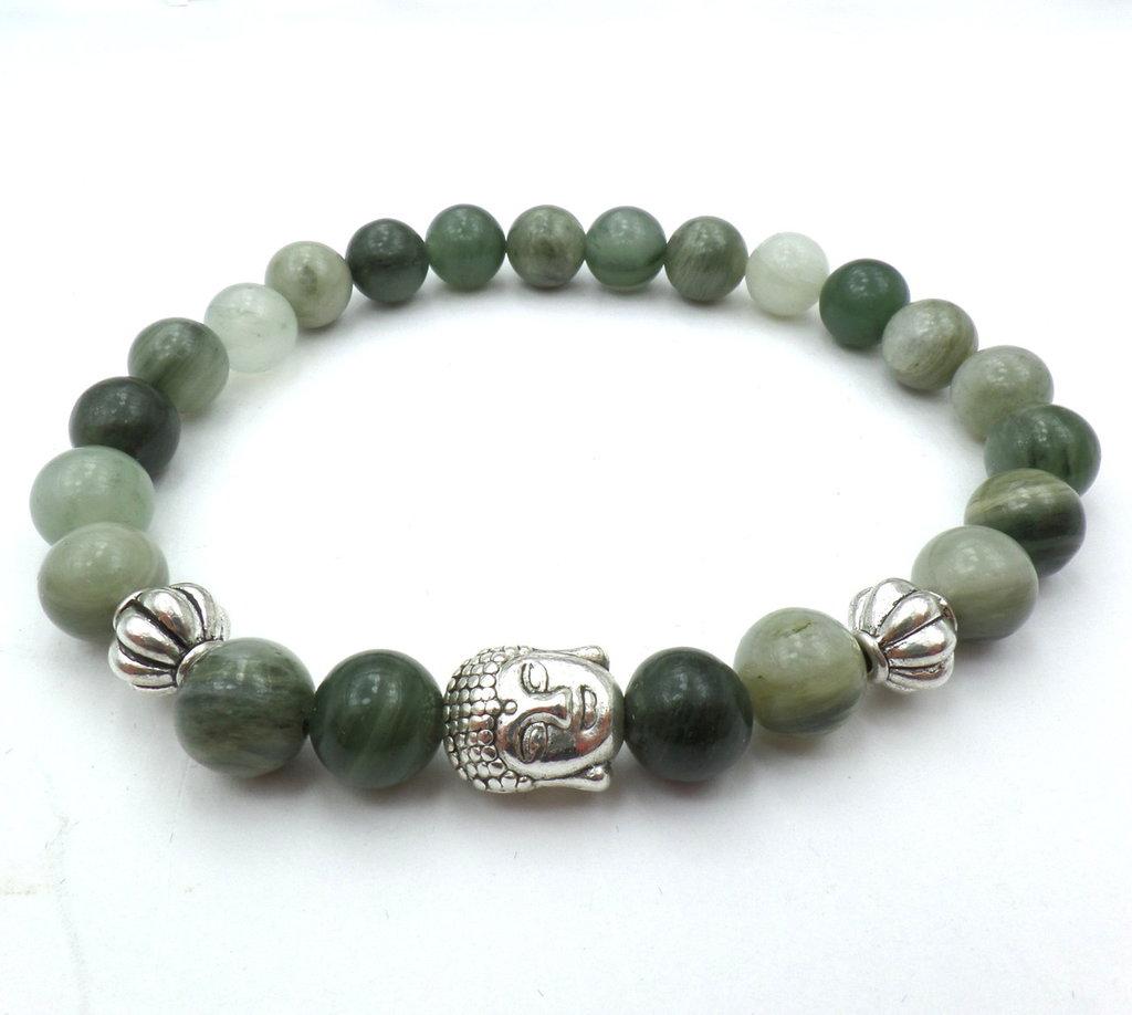Bracciale con pietre dure naturali Diaspro verde e charm Buddha