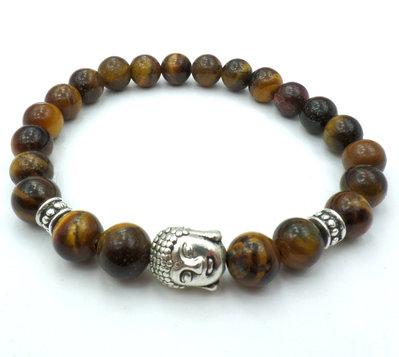 Bracciale con pietre dure naturali Occhio di Tigre e charm Buddha
