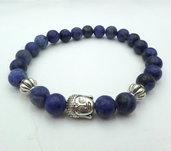 Bracciale con pietre dure naturali Sodalite Blu e charm centrale Buddha