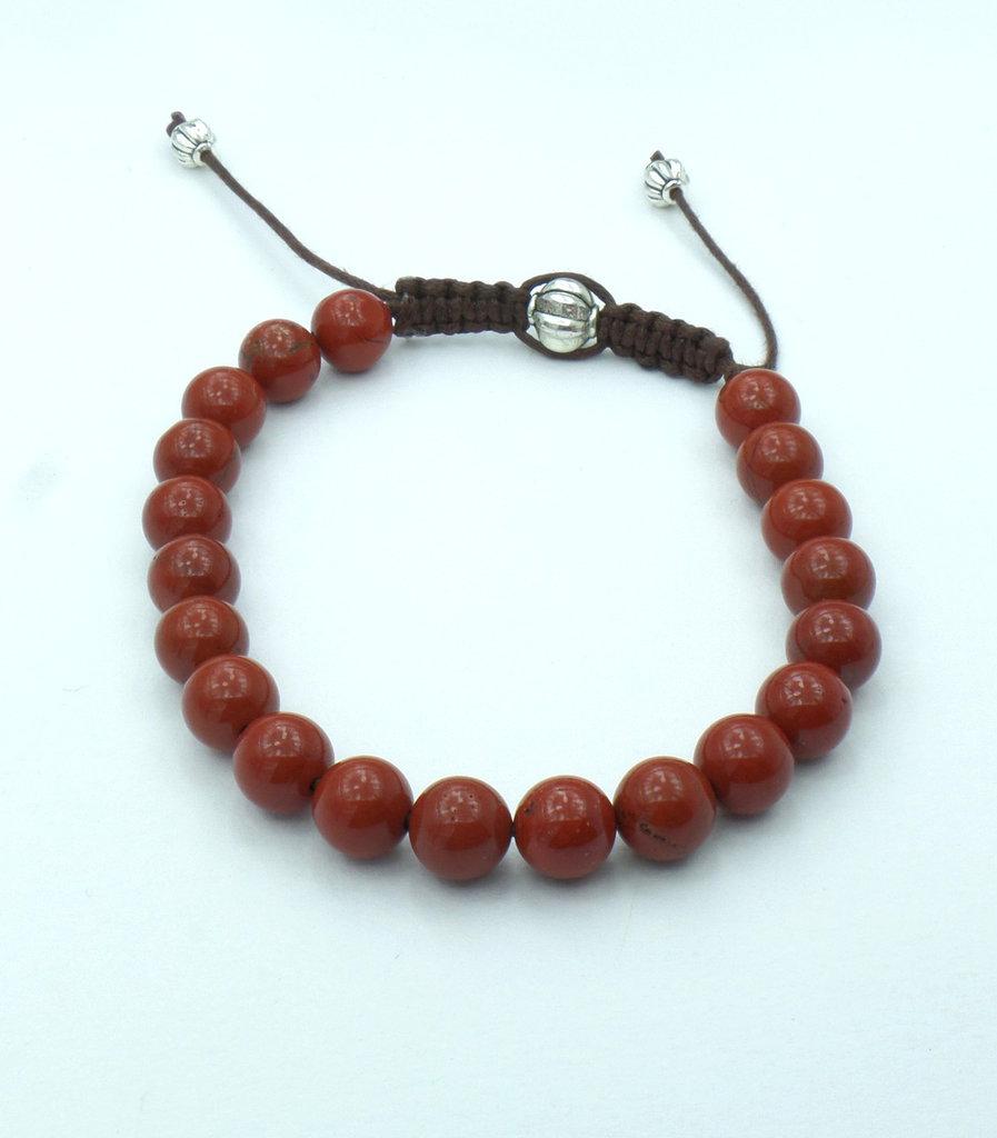 Bracciale in pietra dura naturale Diaspro Rosso regolabile con cordini