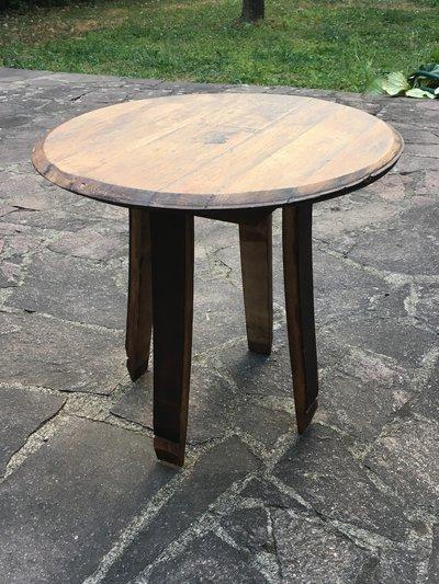 Tavolo in legno fatto a mano ricavato da botte di rovere