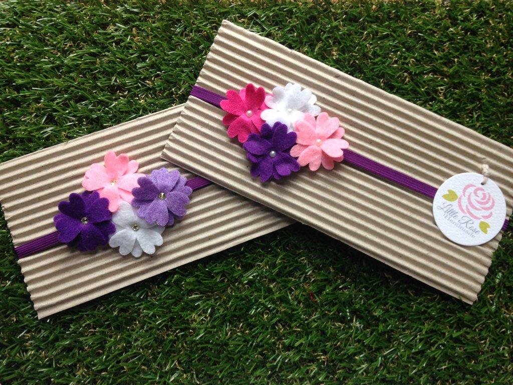 Fascia elastica a fiorellini per capelli by Little Rose Handmade