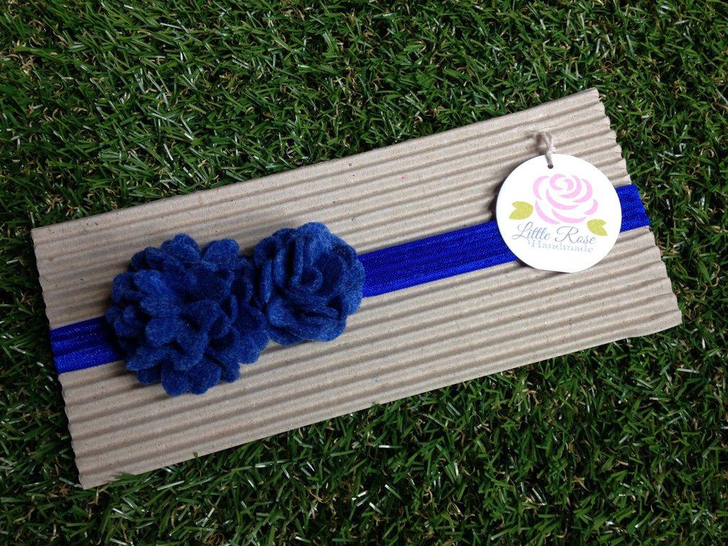 Fascia elastica a pom pom color blue by Little Rose Handmade
