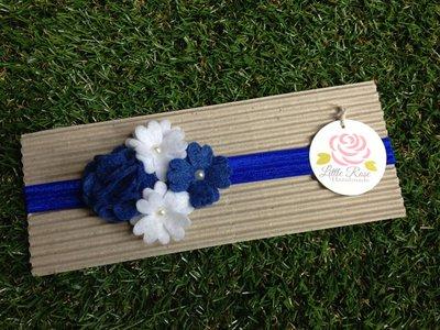Fascia elastica a fiorelini in tono bianco e blue by Little Rose Handmade