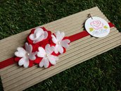Fascia elastica a fiorellini in tono rosso e bianco by Little Rose Handmade