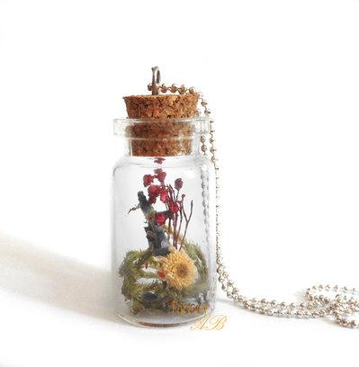 Collana Boccetta fiori bottiglietta idea regalo ragazza donna