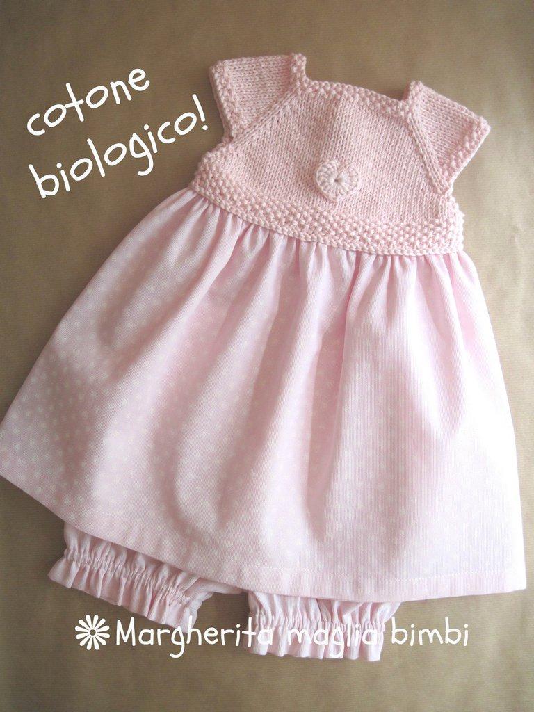 Abito bambina cuoricino - corpino in cotone biologico - culotte coordinate piquet di cotone