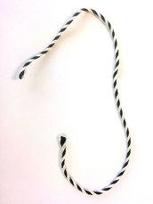 50 Cordoncini ritorti bianco e nero 25 cm - Costo spedizione incluso