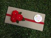Fascia elastica a tre Rose in tono rosso by Litle Rose Handmade