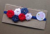 Fascia elastica a rose in tono rosso bianco e blue by Little Rose Handmade