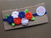Fascia elastica a Rose in tono Blue, bianco e arancione by Little Rose Handmade