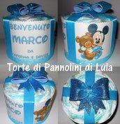 TORTA di PANNOLINI Pampers + NOME DEDICA PERSONALIZZATA pacco regalo fiocco idea regalo nascita battesimo